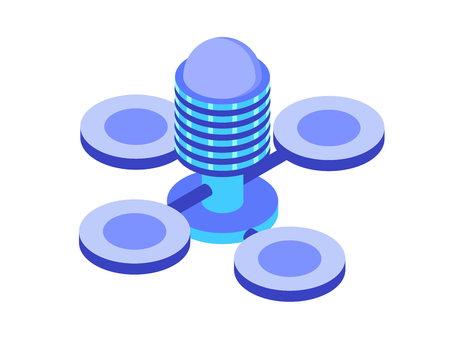 Futuristic building. Round tower with platforms for drones or helicopters. Vector isometric illustration. Design element for games, apps, websites, maps etc. Isolated on white background.  イラスト・ベクター素材