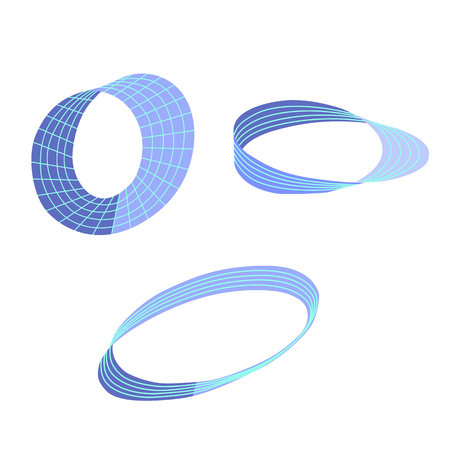 Mobius strips. Isometric vector illustrations. Design elements for scientific and abstract illustrations. Isolated on white background