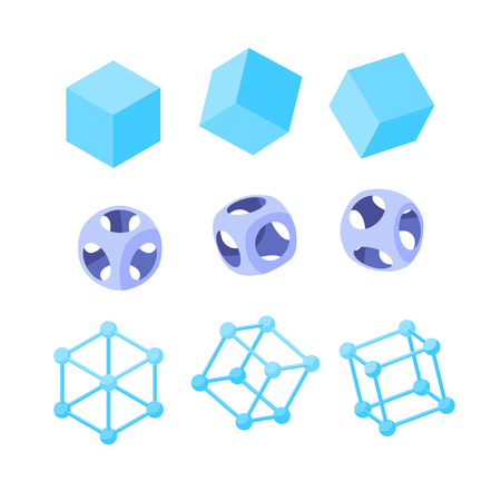 Set of abstract geometric shapes. Hexahedrons. Wireframe and rounded cubes. Design elements for abstract illustrations, patterns and backgrounds in memphis style. Isometric icons. Isolated on white 写真素材 - 122025454