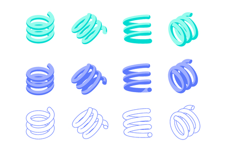 Set of springs. Abstract geometric shapes. Filled and with editable stroke. Design elements for abstract illustrations, patterns and backgrounds in memphis style. Isometric icons. Isolated on white