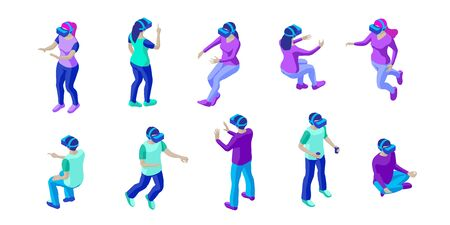 Set of young people wearing vr helmets. Young men and women interact with invisible virtual objects. Isometric characters. Isolated on white background. Design element for web page, mobile app etc.