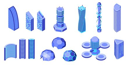 Set of futuristic buildings. Isometric vector illustration. Design element for games, apps, websites, infographics etc. Isolated on white background Illustration