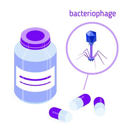 Pill bottle and capsules with bacteriophages. Isometric vector illustration. Isolated on white. Design element for medical illustrations, infographics, banners, articles, websites, apps etc.