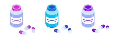 Set of pill bottles and pills of pink, blue and violet. Isometric vector icons. Isolated on white background. Design element for medical illustrations, banners, articles, websites, apps etc.