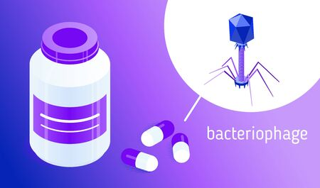 Pill bottle and pills with bacteriophages. Isometric vector icons. Concept of informational or advertising illustration. Design element for medical infographics, banners, articles, websites, apps etc. 写真素材 - 127968887
