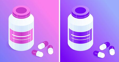 Pill bottles and capsules of pink and violet. Closed plastic jar with pills. Isometric vector icons. Violet and pink gradient background. Design element for medical illustrations.