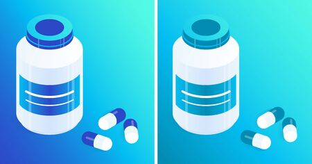 Pill bottles and capsules of blue and turquoise. Isometric vector icons. Gradient background. Design element for medical illustrations, infographics, banners, articles, websites, apps etc.