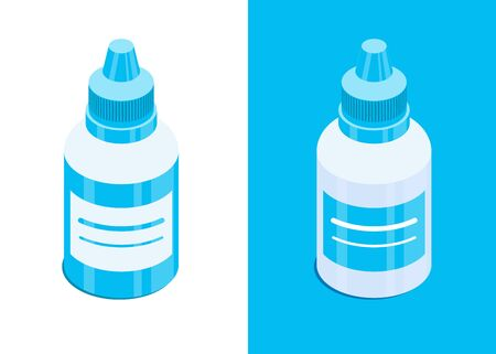 Plastic container for eye, ear or nasal drops. Medical liquide bottle. Isometric vector icons. Isolated on white and blue background. Design element for medical illustrations, infographics, apps etc.  イラスト・ベクター素材