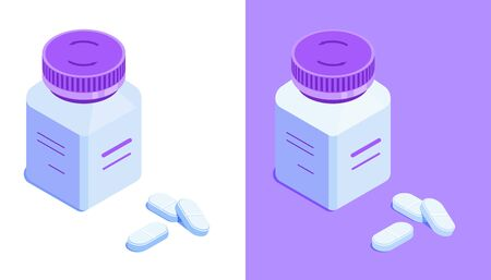 Square pill bottle and pills. White drug jar with closed lid. Isometric vector icon. Isolated on white and violet background