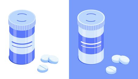Pharmaceutical bottle and tablets. Round drug jar with closed lid. Isometric vector icons. Isolated on white and blue background