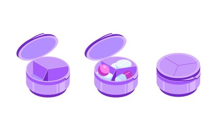 Round pill organizer with three sections. Pill box with open and closed cap. Containers empty and with tablets. Isometric vector illustration. Isolated on white background.