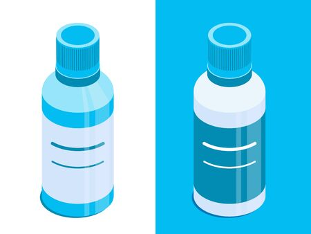 Liquide bottle with closed lid. Vial for liquid medicine or cosmetic products. Isometric vector icons. Isolated on white and blue background. Design element for illustrations, infographics, apps etc. 写真素材 - 128363191