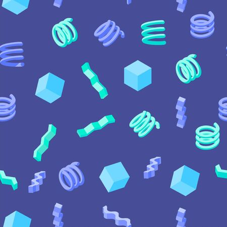 Abstract seamless geometric pattern with cubes, zigzags and springs on dark blue background. Modern texture for designs in memphis style Illustration