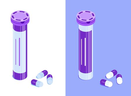 Round pill bottle with capsules. Medicine jar with closed lid. Isometric vector icons. Isolated on white and violet background. Design element for medical illustrations, infographics, apps etc.  イラスト・ベクター素材