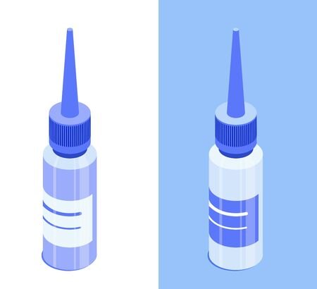 Dropper bottle with closed cap. Isolated on white and blue background. Isometric vector icon. Design element for medical illustrations, infographics, apps etc. Illustration