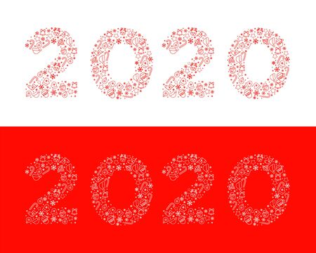 2020 New Year. Vector illustration. Figures 2020 composed of New Year and Christmas symbols. Isolated on white and on red background. Design element for greeting card, calendar, banner etc.  イラスト・ベクター素材