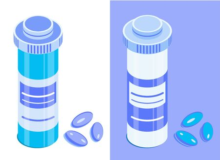 Pharmaceutical bottle and pills. Round medicine jar with closed lid. Isometric vector icons. Isolated on white and blue background. Design element for medical illustrations, infographics, apps etc.  イラスト・ベクター素材
