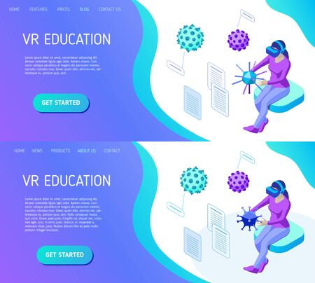 Girl with vr helmet holds and studies various viruses in virtual reality. Template for landing page header for educational website. Isometric vector illustration  イラスト・ベクター素材