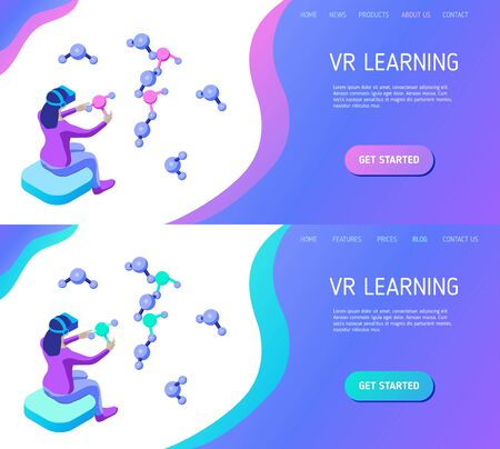 Young woman with a VR headset holds and studies molecules in virtual reality. Design concept for landing page header. Educational site template. Isometric vector illustration