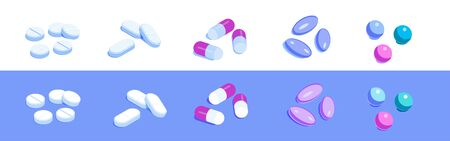 Set of various pills. Capsules, tablets and other drugs. Isometric vector icons. Isolated on white and violet background. Design element for medical illustrations, infographics, apps etc.  イラスト・ベクター素材