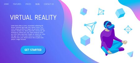 Young man wearing virtual reality headset sits in a lotus position. Boy practices yoga in a virtual reality space. Design concept for landing page header for website. Isometric vector illustration.  イラスト・ベクター素材