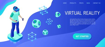 Gamer with controllers and vr helmet stands on flying virtual platform. Boy is gaming in virtual reality. Template for header of landing page of website. Isometric vector illustration  イラスト・ベクター素材