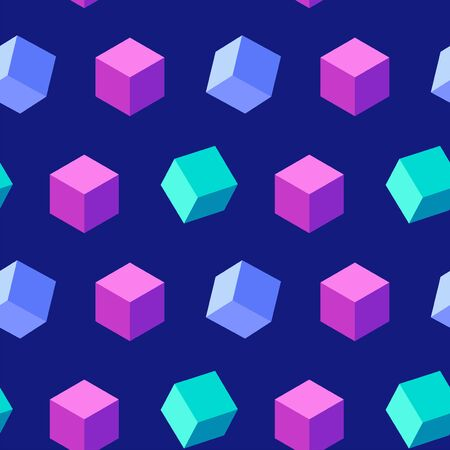 Colorful seamless geometric pattern with floating cubes on a dark blue background. Trendy texture
