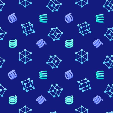 Abstract seamless geometric pattern with wire cubes and springs on dark blue background. Trendy colorful texture