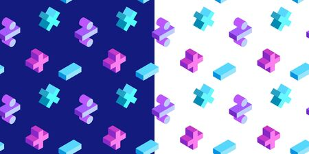 Seamless pattern with math isometric symbols on white and dark blue background