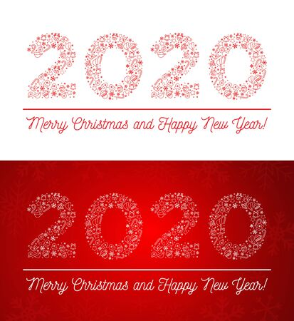 2019 Merry Christmas and Happy New Year. Vector illustration. Figures 2020 composed of New Year and Christmas symbols. Isolated on white and on red background