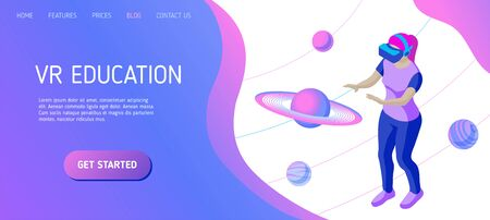 Girl studies planets in a virtual reality. Template for landing page header for educational website. Isometric vector illustration