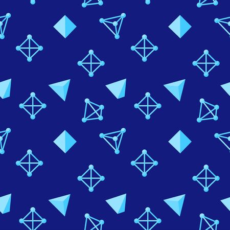 Abstract seamless geometric pattern with wireframe and solid tetrahedrons on a blue background