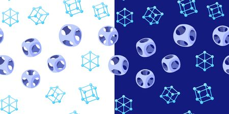 Abstract seamless geometric pattern with wireframe and rounded cubes on white and dark blue backgrounds