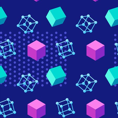 Colorful seamless geometric pattern with floating wireframe and solid cubes on a dark blue background. Vibrant trendy texture