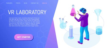 VR Laboratory. Scientist works in a virtual laboratory. Template for landing page header for educational website. Isometric vector illustration