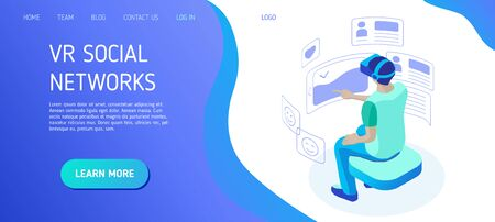 Young man wearing vr helmet communicates in a virtual social network. Boy interacts with virtual interface on social media. Template for landing page header for website. Isometric vector illustration  イラスト・ベクター素材
