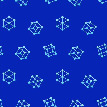 Abstract seamless geometric pattern with wire cubes on a blue background. Trendy texture  イラスト・ベクター素材