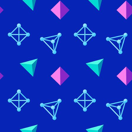 Colorful seamless geometric pattern with floating wireframe and solid pyramids on blue background