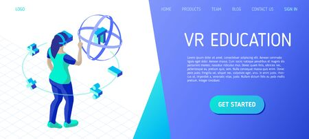Education in virtual reality. Girl with vr headset plays a math game in virtual reality. Template for landing page header for educational website. Isometric vector illustration  イラスト・ベクター素材
