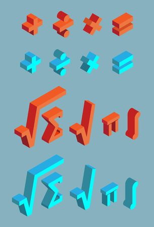 Set of math symbols. Plus, minus, multiplication, division, equal, square root, sum, pi, integral. Isometric mathematical signs of red and blue on gray background