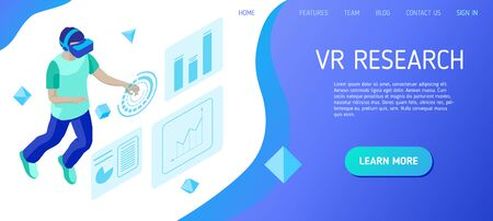 Virtual reality research. Young man interacts with virtual interface. Design concept of landing page header for website. Isometric vector illustration.  イラスト・ベクター素材