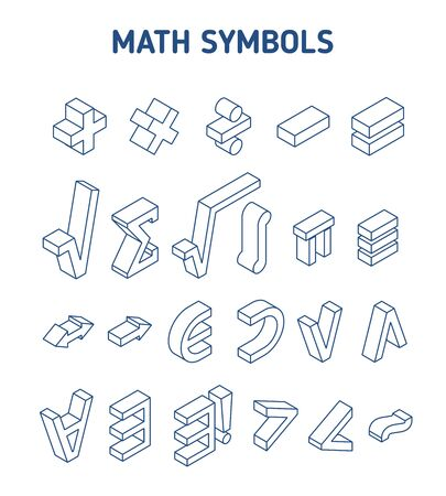 Set of math and logical symbols. Isometric contour signs. Isolated on white background. Editable stroke
