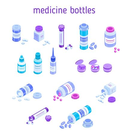 Set of various pill bottles. Round and square jars for tablets. Closed and lying with open caps and scattered pills. Isometric vector design elements for medical illustrations. Isolated on white  イラスト・ベクター素材
