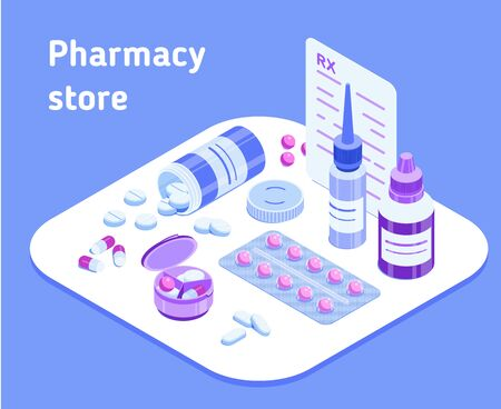 Pharmacy store. Isometric vector illustration for a pharmacy website, application or advertisement. Set of various medicines. Pill bottle, blister pack, dropper bottles, prescription, pill organizer  イラスト・ベクター素材