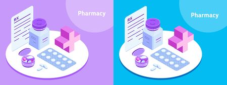 Pharmacy. Illustration for medical website, drugstore, pharmacy app, medical article etc. Isometric vector icons. Pill jar, pill container, blister pack, prescription and tablets