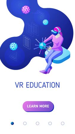Girl wearing vr helmet holds and studies various viruses in virtual reality. Isometric vector illustration for mobile application landing page or advertising banner for educational website