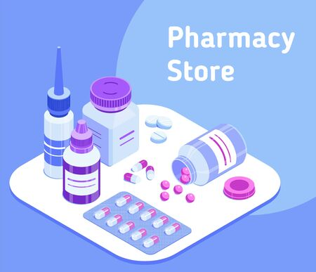 Pharmacy store. Set of medical icons. Isometric vector illustration for a pharmacy website, application, advertising banner or poster. Pill jars, blister pack, dropper bottles, tablets and capsules