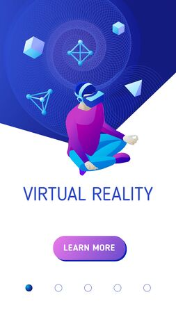 Young man wearing virtual reality headset sits in a lotus position. Design concept for mobile application landing page or advertising banner for website. Isometric vector illustration