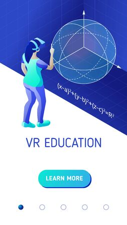 Education in virtual reality. Girl with vr helmet studies mathematics in virtual reality. Isometric vector illustration for mobile application landing page or banner for educational website  イラスト・ベクター素材