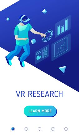 Virtual reality research. Young man interacts with virtual interface. Design concept of landing page header for website or mobile application. Isometric vector illustration